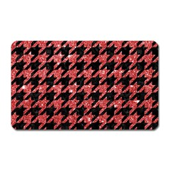 Houndstooth1 Black Marble & Red Glitter Magnet (rectangular) by trendistuff