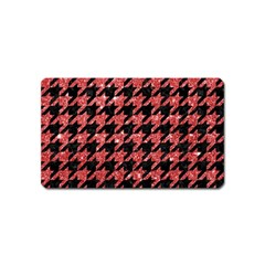 Houndstooth1 Black Marble & Red Glitter Magnet (name Card) by trendistuff