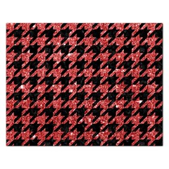 Houndstooth1 Black Marble & Red Glitter Rectangular Jigsaw Puzzl