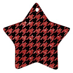 Houndstooth1 Black Marble & Red Glitter Star Ornament (two Sides) by trendistuff