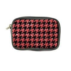 Houndstooth1 Black Marble & Red Glitter Coin Purse by trendistuff