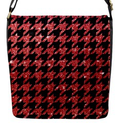 Houndstooth1 Black Marble & Red Glitter Flap Messenger Bag (s) by trendistuff