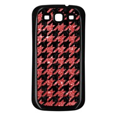 Houndstooth1 Black Marble & Red Glitter Samsung Galaxy S3 Back Case (black) by trendistuff