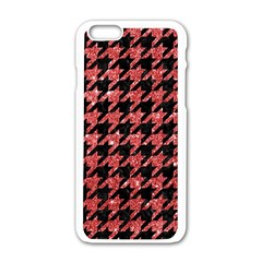 Houndstooth1 Black Marble & Red Glitter Apple Iphone 6/6s White Enamel Case by trendistuff