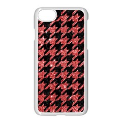Houndstooth1 Black Marble & Red Glitter Apple Iphone 7 Seamless Case (white) by trendistuff