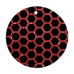HEXAGON2 BLACK MARBLE & RED GLITTER (R) Round Ornament (Two Sides) Front