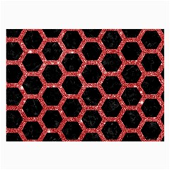 Hexagon2 Black Marble & Red Glitter (r) Large Glasses Cloth by trendistuff