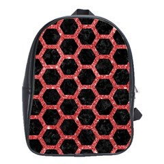 Hexagon2 Black Marble & Red Glitter (r) School Bag (large) by trendistuff