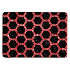 Hexagon2 Black Marble & Red Glitter (r) Samsung Galaxy Tab 8 9  P7300 Flip Case by trendistuff