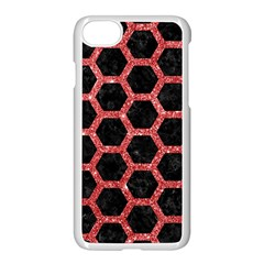 Hexagon2 Black Marble & Red Glitter (r) Apple Iphone 7 Seamless Case (white)
