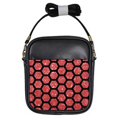Hexagon2 Black Marble & Red Glitter Girls Sling Bags by trendistuff
