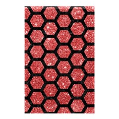 Hexagon2 Black Marble & Red Glitter Shower Curtain 48  X 72  (small)  by trendistuff