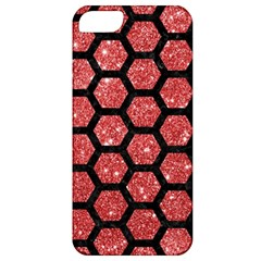 Hexagon2 Black Marble & Red Glitter Apple Iphone 5 Classic Hardshell Case by trendistuff