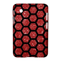 Hexagon2 Black Marble & Red Glitter Samsung Galaxy Tab 2 (7 ) P3100 Hardshell Case  by trendistuff