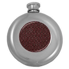 Hexagon1 Black Marble & Red Glitter (r) Round Hip Flask (5 Oz) by trendistuff