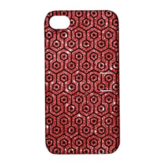 Hexagon1 Black Marble & Red Glitter Apple Iphone 4/4s Hardshell Case With Stand by trendistuff