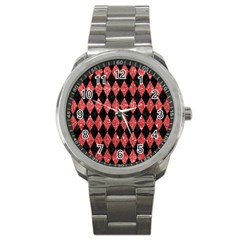 Diamond1 Black Marble & Red Glitter Sport Metal Watch