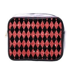 Diamond1 Black Marble & Red Glitter Mini Toiletries Bags by trendistuff
