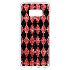 Diamond1 Black Marble & Red Glitter Samsung Galaxy S8 Plus White Seamless Case by trendistuff