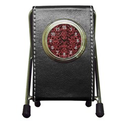 Damask2 Black Marble & Red Glitter (r) Pen Holder Desk Clocks by trendistuff