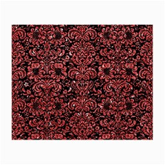 Damask2 Black Marble & Red Glitter (r) Small Glasses Cloth by trendistuff
