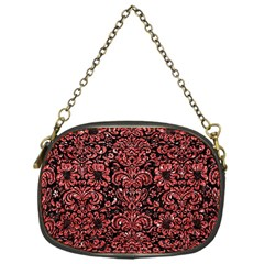 Damask2 Black Marble & Red Glitter (r) Chain Purses (one Side)  by trendistuff