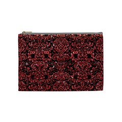 Damask2 Black Marble & Red Glitter (r) Cosmetic Bag (medium)  by trendistuff