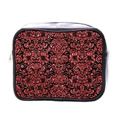 Damask2 Black Marble & Red Glitter (r) Mini Toiletries Bags by trendistuff