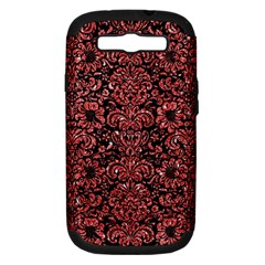 Damask2 Black Marble & Red Glitter (r) Samsung Galaxy S Iii Hardshell Case (pc+silicone) by trendistuff