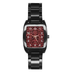 Damask2 Black Marble & Red Glitter (r) Stainless Steel Barrel Watch by trendistuff