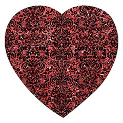 Damask2 Black Marble & Red Glitter Jigsaw Puzzle (heart) by trendistuff