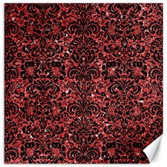 Damask2 Black Marble & Red Glitter Canvas 12  X 12   by trendistuff