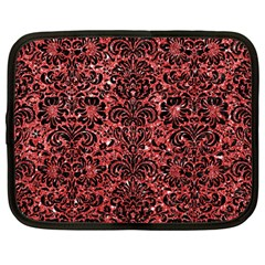 Damask2 Black Marble & Red Glitter Netbook Case (large) by trendistuff