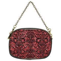 Damask2 Black Marble & Red Glitter Chain Purses (two Sides)  by trendistuff