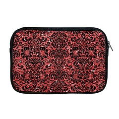 Damask2 Black Marble & Red Glitter Apple Macbook Pro 17  Zipper Case by trendistuff