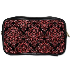 Damask1 Black Marble & Red Glitter (r) Toiletries Bags 2 Side by trendistuff