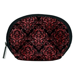 Damask1 Black Marble & Red Glitter (r) Accessory Pouches (medium)  by trendistuff