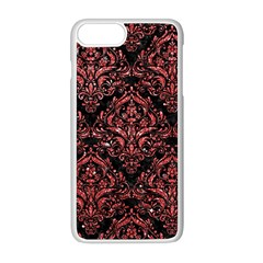 Damask1 Black Marble & Red Glitter (r) Apple Iphone 8 Plus Seamless Case (white)