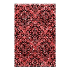Damask1 Black Marble & Red Glitter Shower Curtain 48  X 72  (small)  by trendistuff