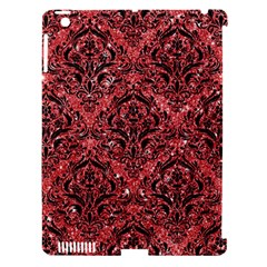 Damask1 Black Marble & Red Glitter Apple Ipad 3/4 Hardshell Case (compatible With Smart Cover) by trendistuff
