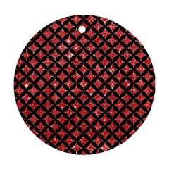 Circles3 Black Marble & Red Glitter Round Ornament (two Sides) by trendistuff