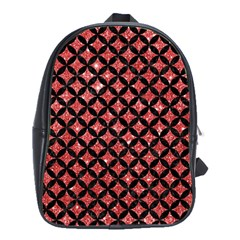 Circles3 Black Marble & Red Glitter School Bag (large) by trendistuff