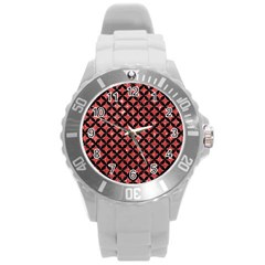Circles3 Black Marble & Red Glitter Round Plastic Sport Watch (l) by trendistuff