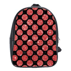 Circles2 Black Marble & Red Glitter (r) School Bag (large) by trendistuff