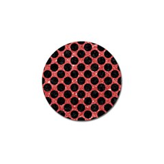 Circles2 Black Marble & Red Glitter Golf Ball Marker