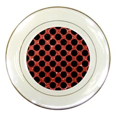 Circles2 Black Marble & Red Glitter Porcelain Plates by trendistuff