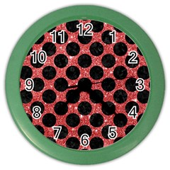 Circles2 Black Marble & Red Glitter Color Wall Clocks by trendistuff
