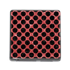 Circles2 Black Marble & Red Glitter Memory Card Reader (square) by trendistuff
