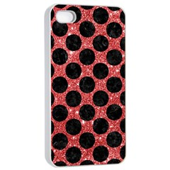 Circles2 Black Marble & Red Glitter Apple Iphone 4/4s Seamless Case (white) by trendistuff