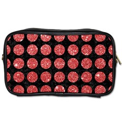 Circles1 Black Marble & Red Glitter (r) Toiletries Bags 2 Side by trendistuff